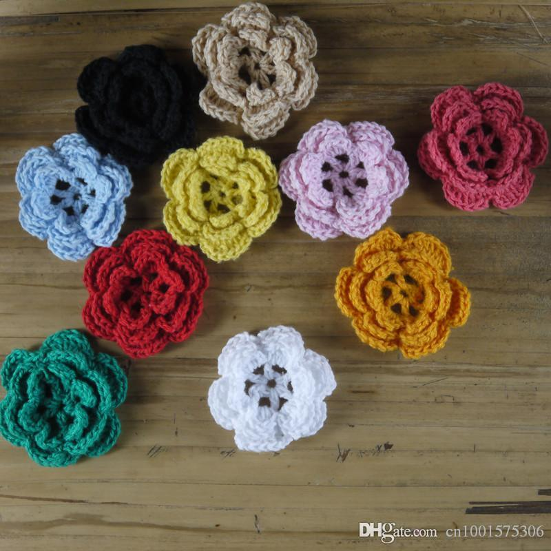 hecho a mano de ganchillo Diy colorido Crochet Applique 3D Flower Warm Home Wedding Decoration.010