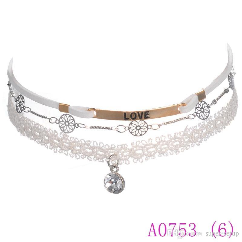 3pcs neue Art und Weise nette Spitze-Halsketten-Halskette für Frauen-Weinlese-Rhinestone-Chian-Halsketten-Schmuck Collier A0753