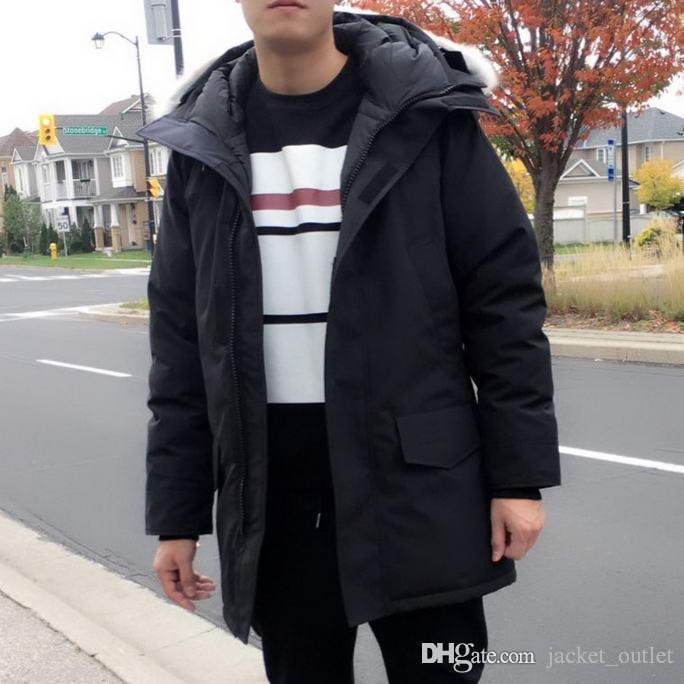 Мода Зима Вниз Ланг Парки Форд Форд С Капюшоном Молнии Бренд Дизайнерская Куртка Мужчины Классический Дизайн Теплые Роскошные Парки Открытый Пальто Онлайн