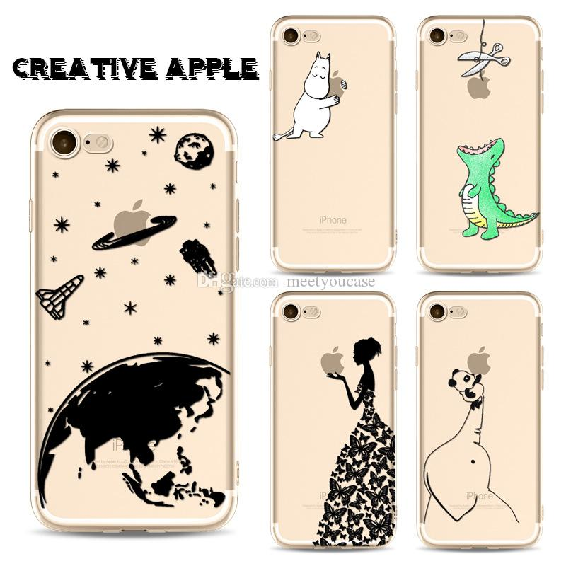 cheap for discount 3d9af bf845 Phone Case For IPhone 5 5S 6 6S 7 8 Plus X Cute Creative Apple Dinosaur  Hippo Giraffe Soft TPU Silicone Back Cover Coque Fundas+Protector Cell  Phone ...