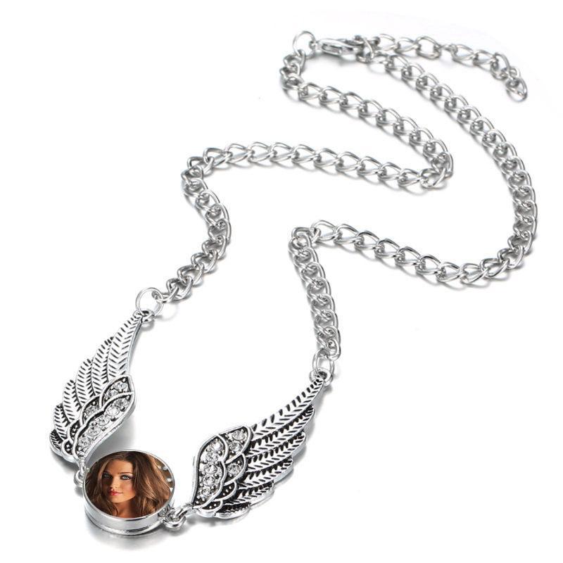 Yüceltme kolye kolye melek kanatları kolye kolye kadın düğmesi takı sıcak transferi diy sarf toptan