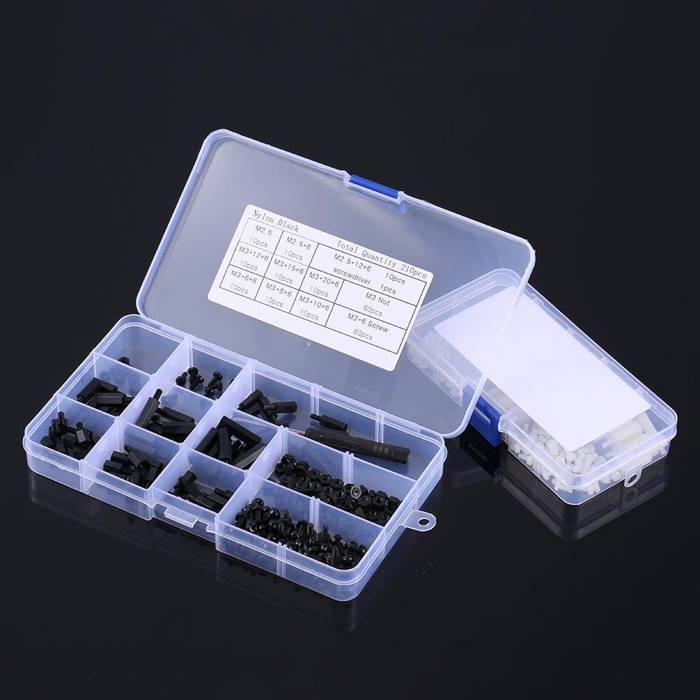 Kit Entretoise M2 180pcs M2 Entretoises Noir M/âle Femelle Assortiment Entretoise Vis Ecrous avec Bo/îte de Rangement