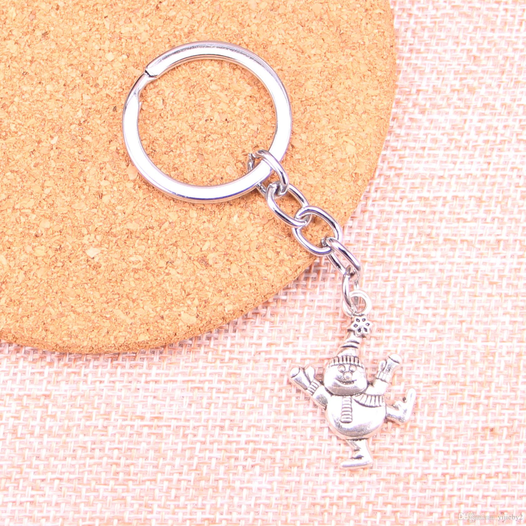 Fashion 28mm Key Ring Metal Key Chain Keychain Jewelry Antique Silver Plated snowman 29*20mm Pendant