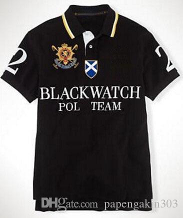 Marque Ralph Polo Shirts pour Hommes Équipe Big Pony Broderie Coton Mode Garçons Polos Noir Montre Numéro 2 Noir Bleu Rouge Blanc