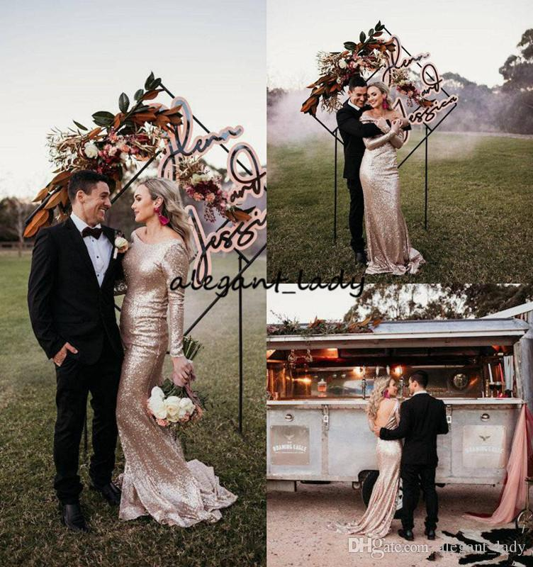 Vintage Blush Rose Gold Country Wedding Dresses with Long Sleeve 2019 Backless Luxury Sequins Outdoor Garden Bohemian Cheap Wedding Gown