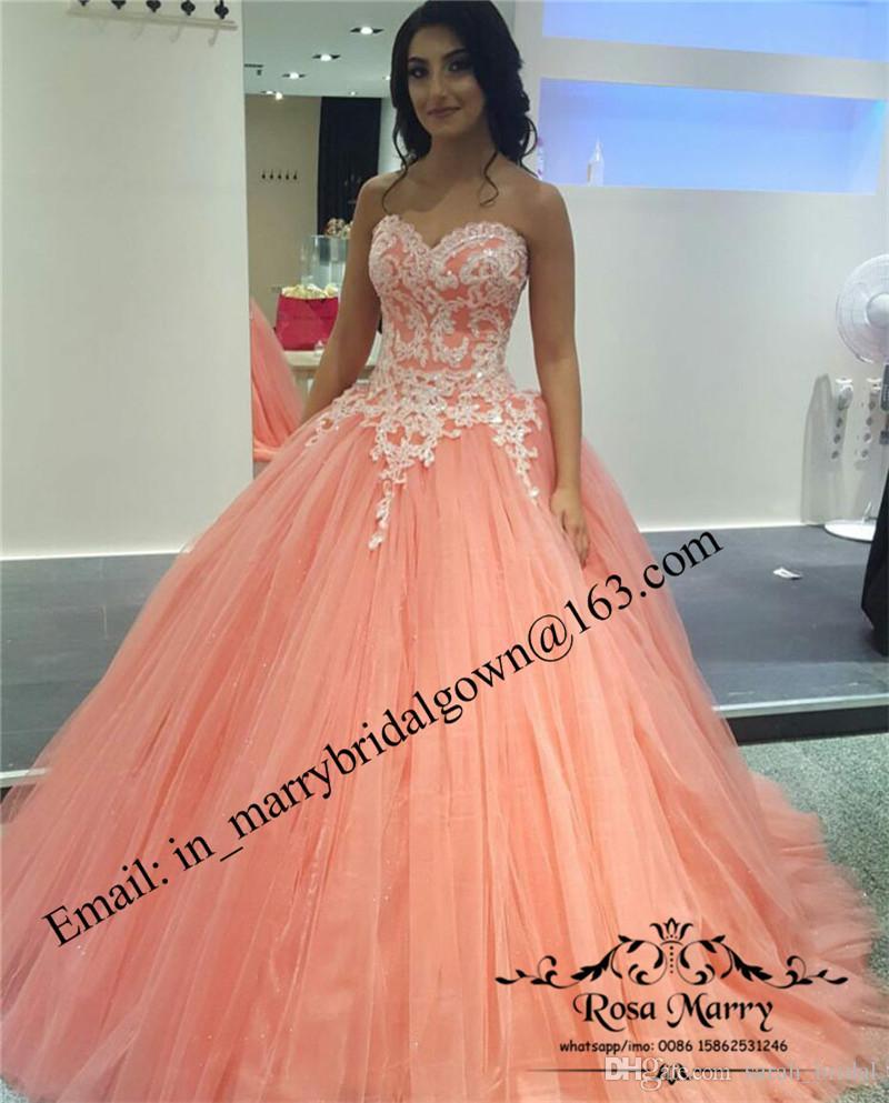 Vestido De Dama Princesa Coral Doce 16 Vestidos Quinceanera 2020 Vestido De Baile Espartilho Plus Size Apliques De Renda Barato Tulle Vestido 15 Anos