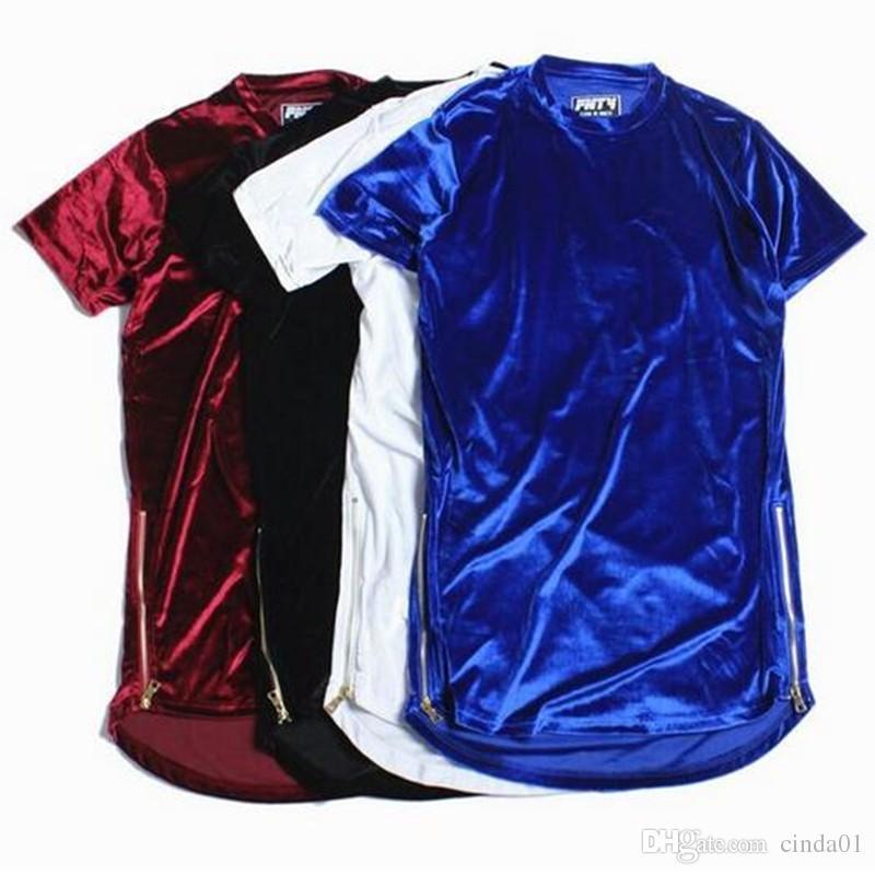 Hi-Street Homens Estendido T-Shirt Dos Homens de Veludo Hip Hop Longline T Camisas Golden Side Zipper Veludo Curvo Hem Tee Shorts
