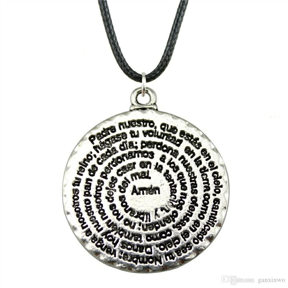 WYSIWYG 5 шт. кожа цепи ожерелья подвески колье воротник ожерелье женщины круглый Аминь Библия 32x28mm N6-B12779