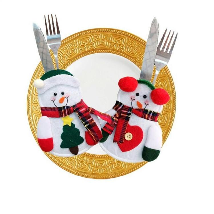 Fashion Christmas Supplies Christmas Snowman Knives and Forks Sleeve Hotel Bar Table Decoration Christmas Tableware Set Accessories T7I097