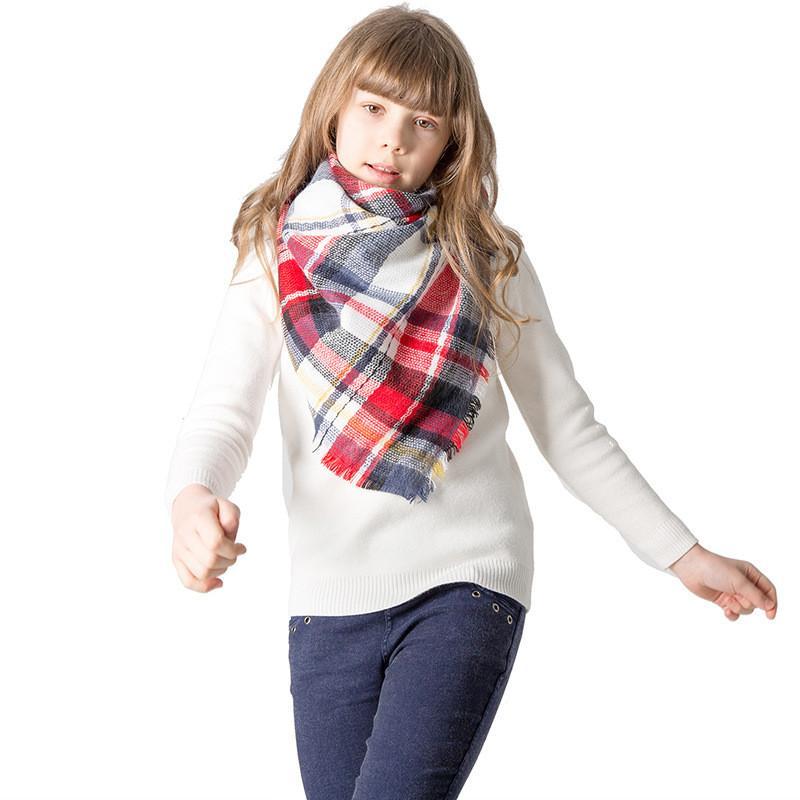 Детский шарф в клетчатую клетку для девочек мальчики Дети квадратная сетка треугольные шарфы Зимние пашмины Теплые шали Кашемировая кисточка Одеяло из решетки