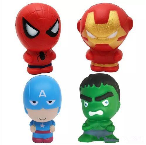 11 см медленный рост отскок мягкие игрушки мультфильм Человек-Паук Железный Человек Капитан Америка Халк Каваи Squishies сожмите игрушки подарки телефон прелести DHL