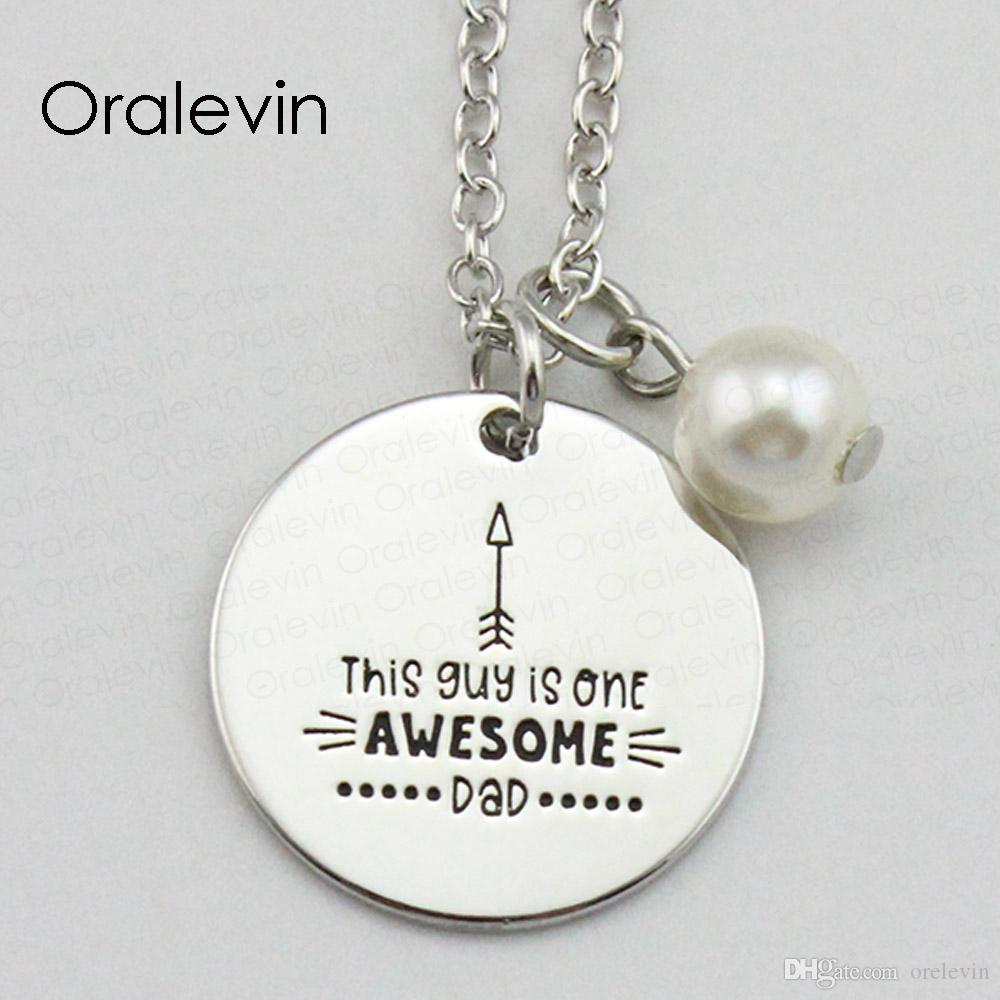 THE GUY IS ONE AWESOME DAD Inspirational Hand Stamped Engraved Glamour Pendant Female Necklace Gift Jewelry,18Inch,22MM,10Pcs/Lot, #LN2046