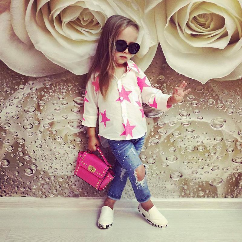 2017 Enfant Fille Vêtements Set Filles Blouse Blanche + Jeans Bleu Pantalon Vêtements Étoiles Imprimer À Manches Longues Mignon Costume Boutique Tenues