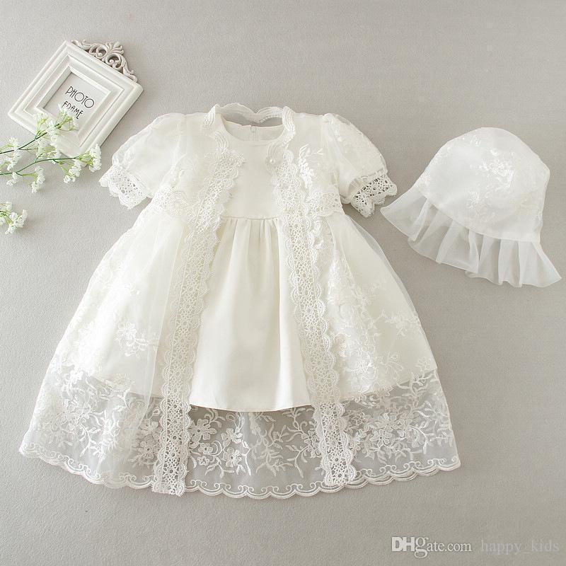 زهرة فتاة فساتين لحفل زفاف رائع التطريز التعميد اللباس طفلة التعميد ثوب طفل 3-24 أشهر فساتين طفلة