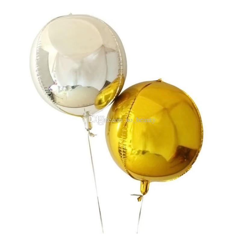 20pcs 4D círculo folha balões de alumínio 22 polegadas casamento aniversário aniversário decoração decoração balão rosa azul ouro prata escolha cor
