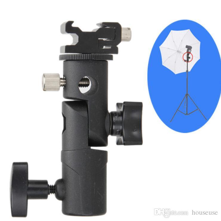 Nueva Swivel Flash Hot Shoe Umbrella Holder Adaptador de montaje para Studio Light Type E Soporte Soporte Photo Studio Accessories