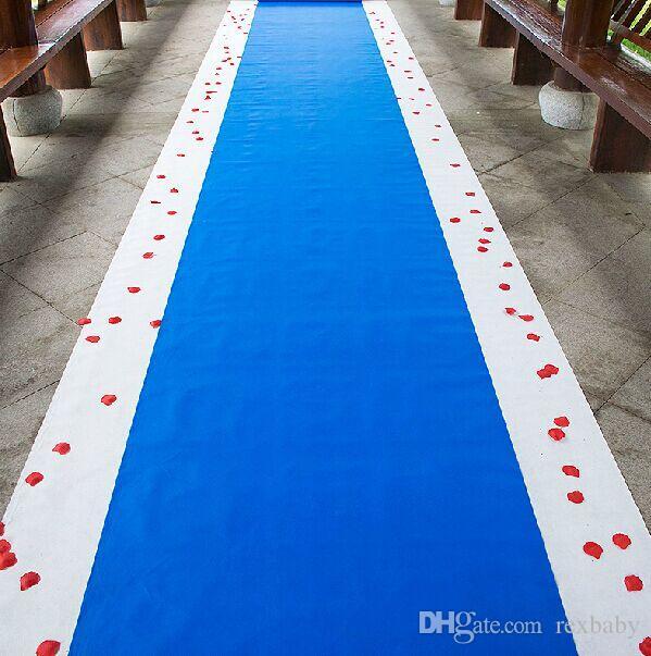 20 Metri / rotolo Royal Blue Wedding Theme Tessuto non tessuto Carpet Corridore della navata laterale per la decorazione della festa nuziale