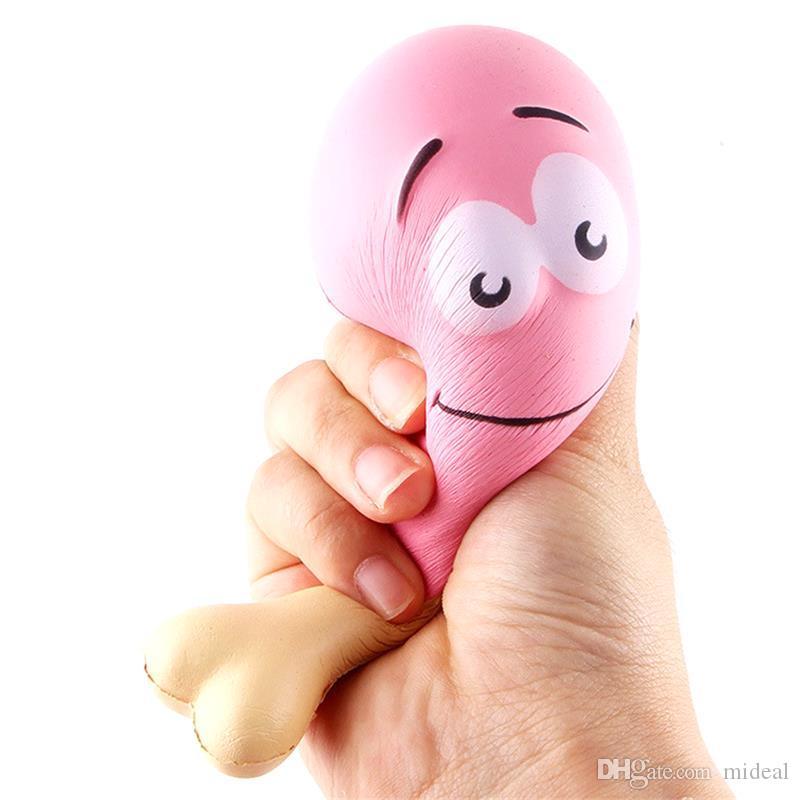 Simulazione cosce di pollo giocattoli squishy lento aumento jumbo spremere fascini del telefono cinghie stress mitigatore regalo per bambini