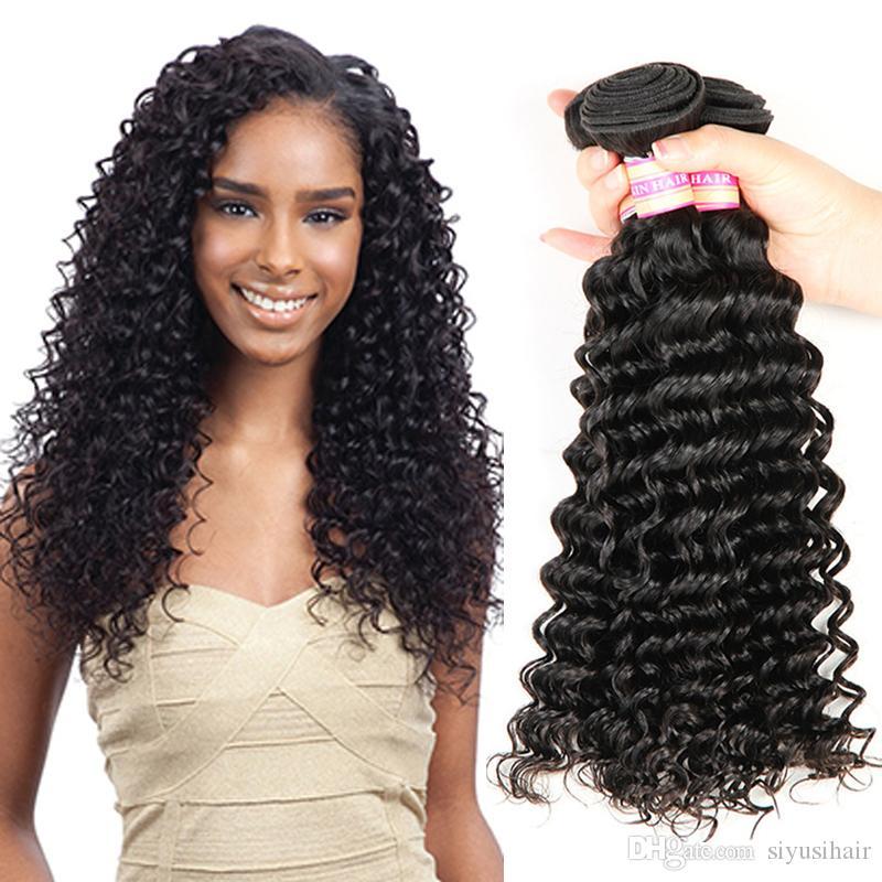 Visón Brasileño Onda Profunda Virginal Paquetes de cabello humano Sin procesar Tejido Mongol Indio Peruano Malasio Extensiones de cabello de onda profunda