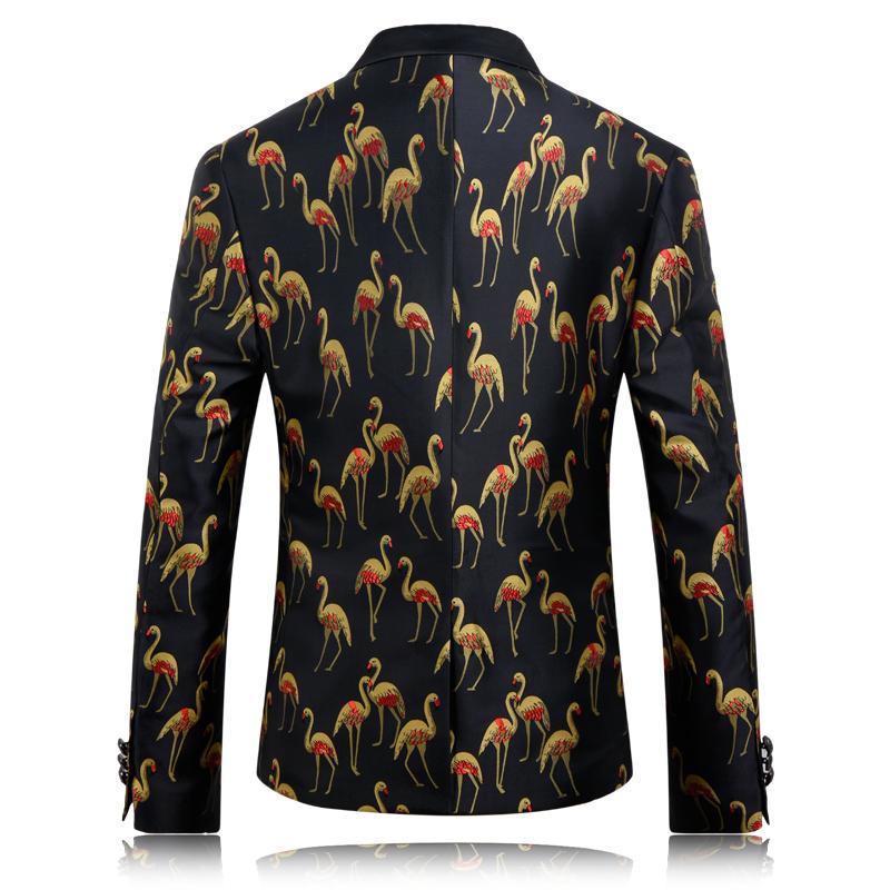 Schwarz Blazer Mens Casual Printed Floral Blazer Eine Taste Slim Fit Anzug Jacke Männer Hochzeit Kleid Formale Jacke Bühne Tragen