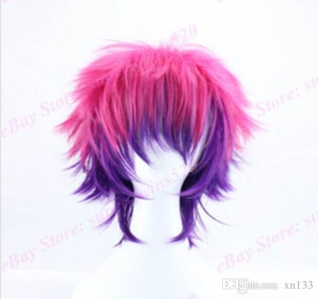 Boys 'Cos Perücken Pink Purple Ombre Hair Vorgestylte volle Perücke Hitzebeständige Cosplay