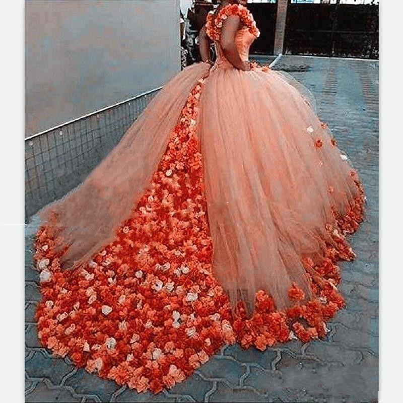 오프 어깨 Quinceanera 드레스 2019 3D 장미 꽃 푹신한 볼 가운 오렌지 Tulle 법원 기차 달콤한 16 생일 파티 신부 가운