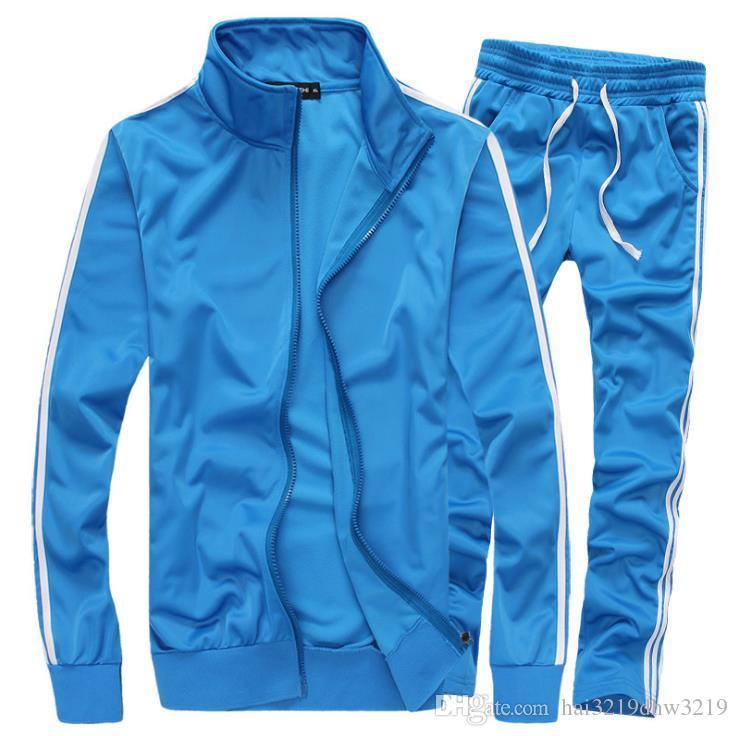 Bumpybeast Sportswear Mens Track Suits 2018 Spring Sportswear Men Solid Color Tracksuits New Brand White Sportwear Set Zipper hoodies 5XL