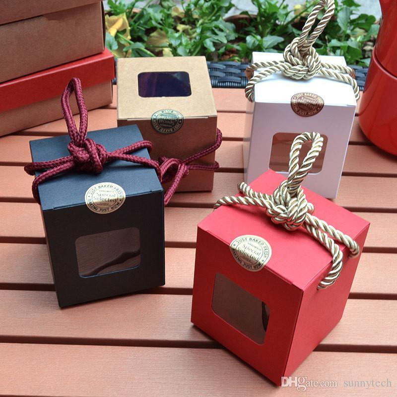 الإبداعية تصميم كرافت ورقة هدية مربع مع نافذة واضحة العسل مربى الشاي البني السكر مربع مربع الحلوى مع حبل LX0232