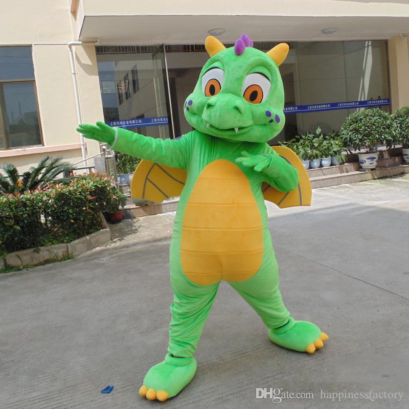 2018 Rabat Factory Sprzedaż Super Cute Lovely Green Dinozaur Maskotki Kostium Dragons Fancy Halloween Christmas Party Dress Free Shipping