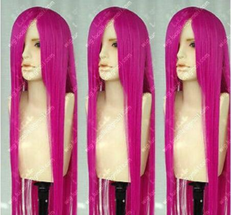 Livraison gratuite ++++ Temple Avenue Cosplay Party Longue Perruque De Mode Rose Rouge Cos Perruque Cheveux