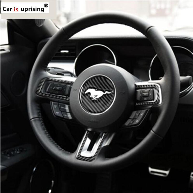 Pour Ford Mustang en fibre de carbone volant emblème 3D voiture Autoétiquettes Styling 2015 2016 2017 Accessoires Auto