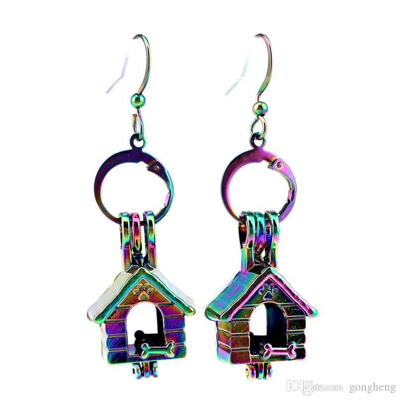 Z645 Rainbow Color Cute Dog House Beauty Pearl Cage Earrings Hooks with 8mm Plastic Beads Girl's Gift