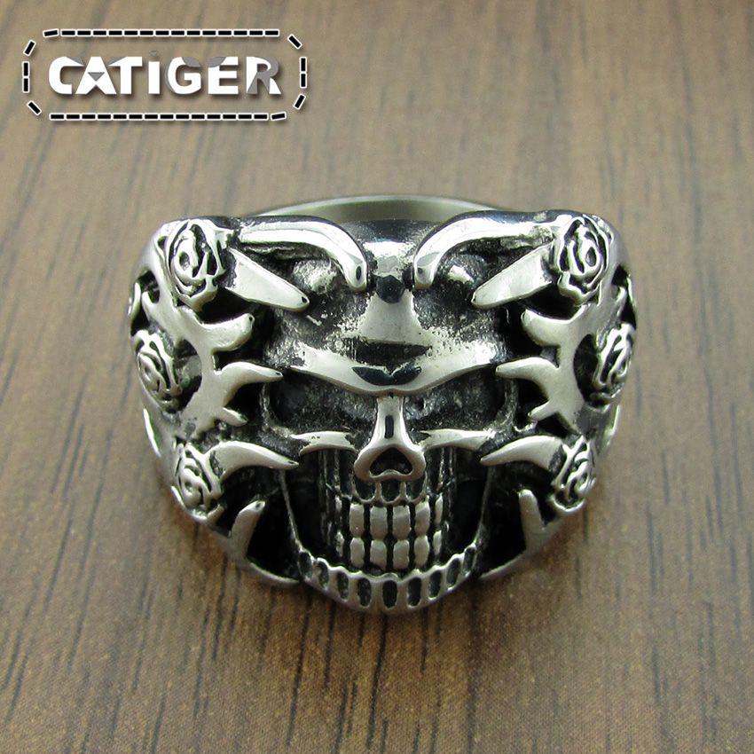 Free Shipping! Cool 316L Stainless Steel Rings For Men Trendy Rose Polishing Tripple Silver White Black color Skull Ring Punk Biker Jewelry