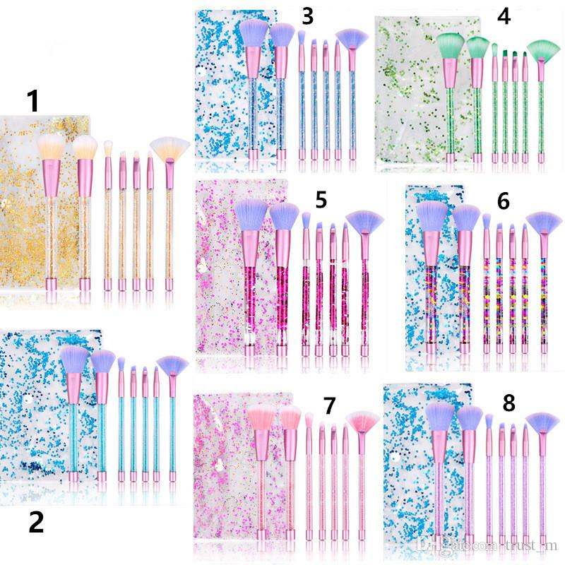 8 Stili Set di pennelli in cristallo scintillio Set 7pcs Set Set Diamond Brush Highlighter Brushes Concealer Make up Brush Tool Kit con borsa