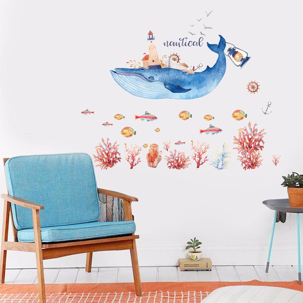 Whale House Wall Stickers For Kids Rooms Bedroom Wall Decor Sticker Home Decor Living Room Stickers Muraux