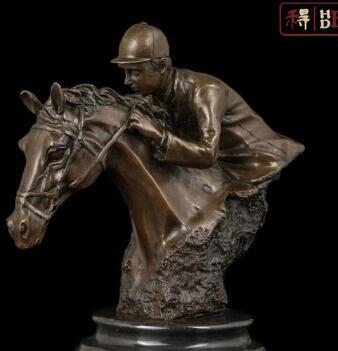 Art abstrait Sculpture Décoration Cheval Horserace Marbre Bronze Statue Figurine