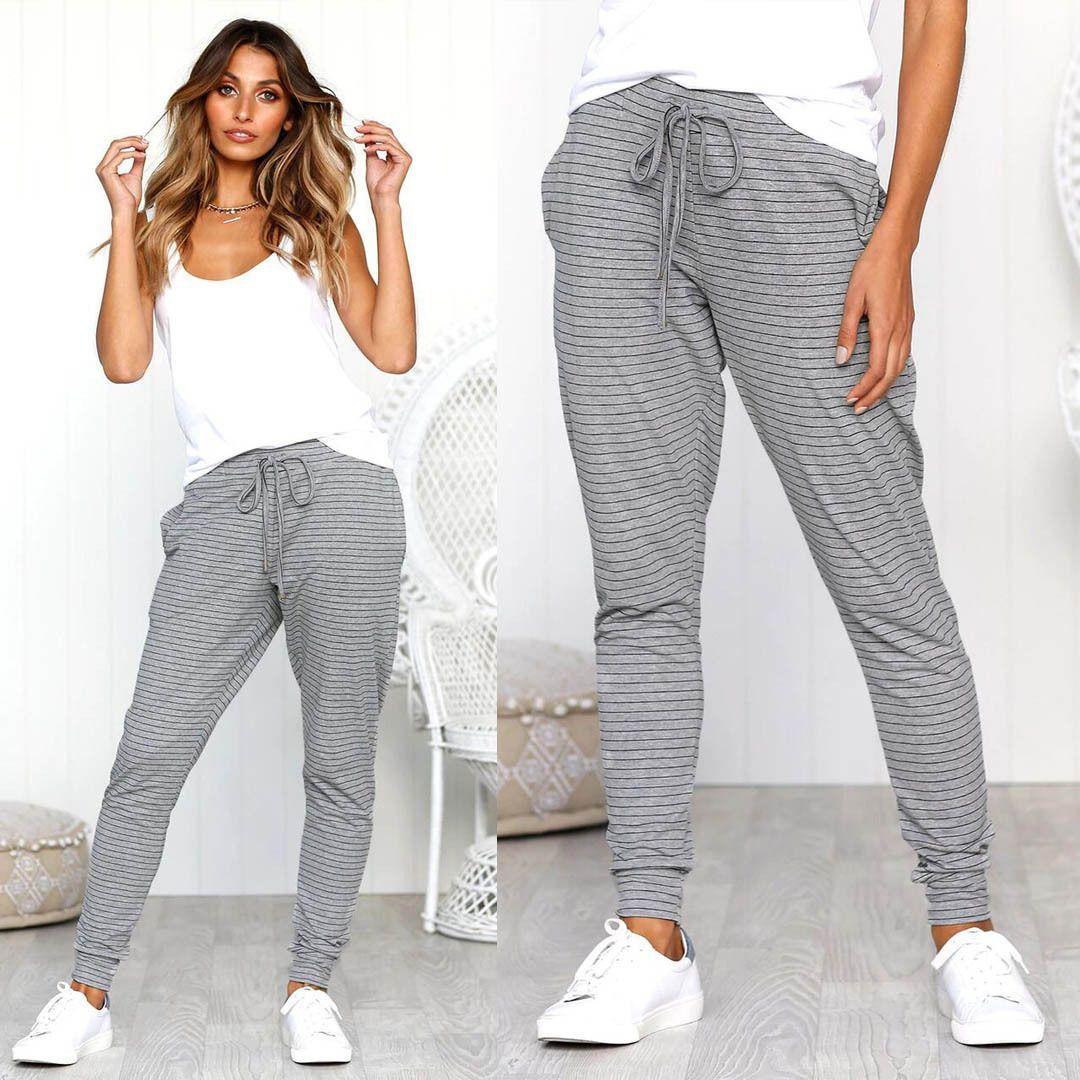 diseñador de moda 721d0 1e9af Compre 2018 Pantalones Casuales De Rayas Ropa De Moda De Las Mujeres  Pantalones De Salón De Vendaje De Cintura Alta Pantalones De Fitness De ...