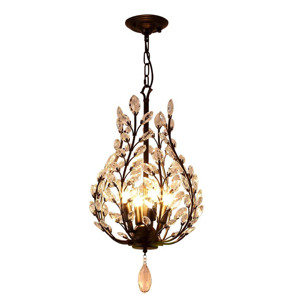 Modern Vintage Design E14 K9 Crystal Black Led Crystal Chandelier Lighting Fixtures for Hotel Loft Bathroom Living Room Home Lamp
