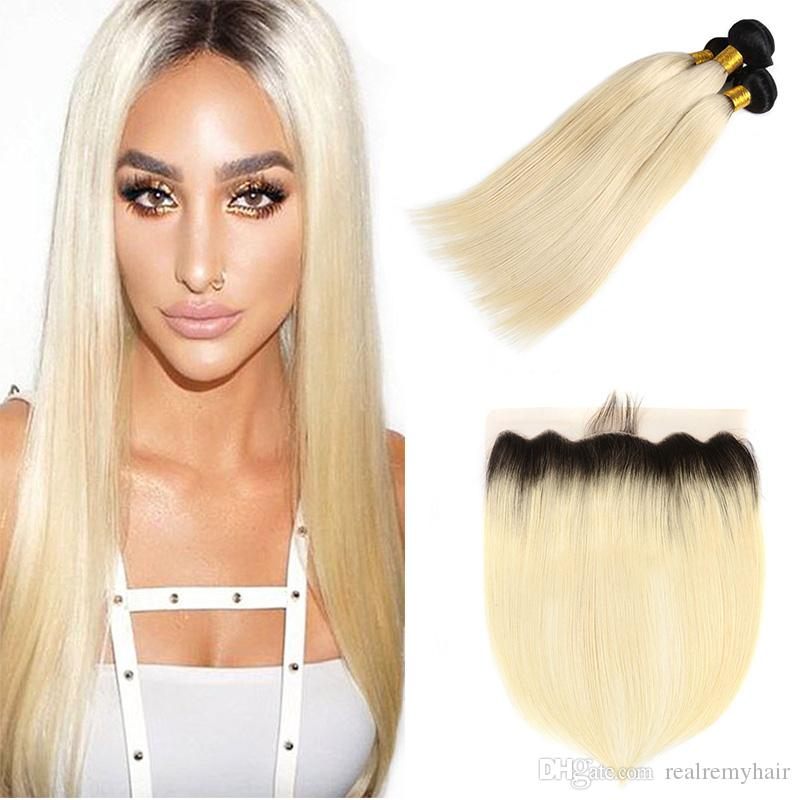 Dantel Frontal Kapatma ile Brezilyalı Bal Sarışın Düz Saç Demetleri Renkli Tam Dantel Frontal ile 613 Platin Sarışın İnsan Saç Örgüleri