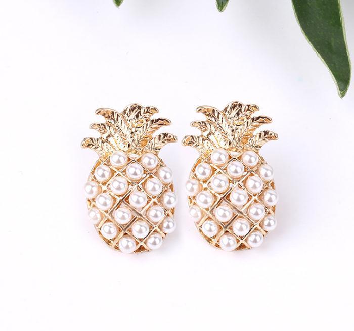 Neue Mode Frauen Perle Ananas Ohrstecker Ohrringe Mädchen Schmuck Geschenk