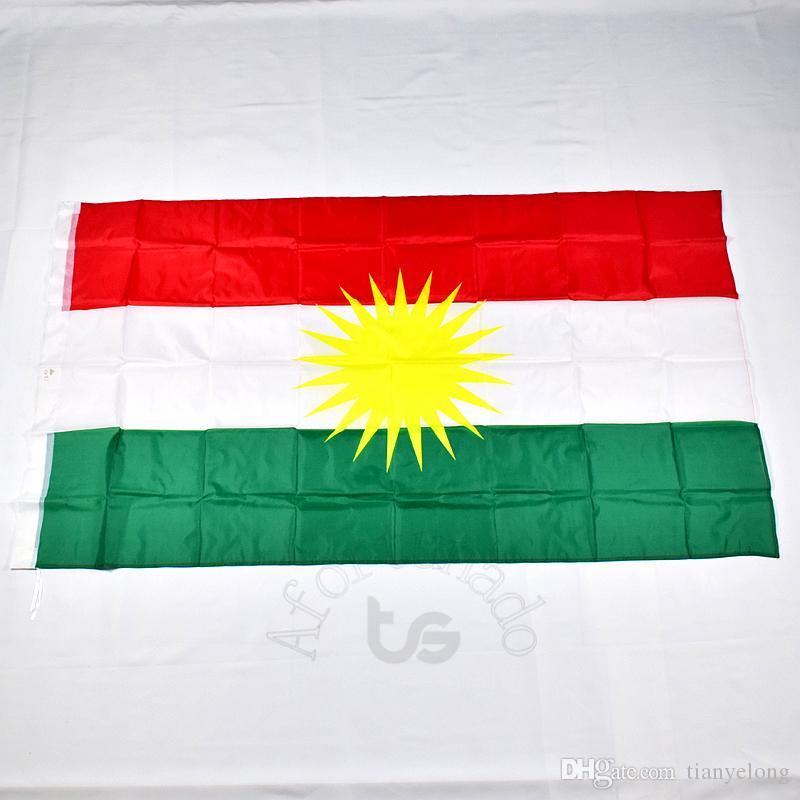 Курдистан флаг национальный флаг Бесплатная доставка 3x5 FT / 90 * 150см висячие национальный флаг Домашнее украшение нации