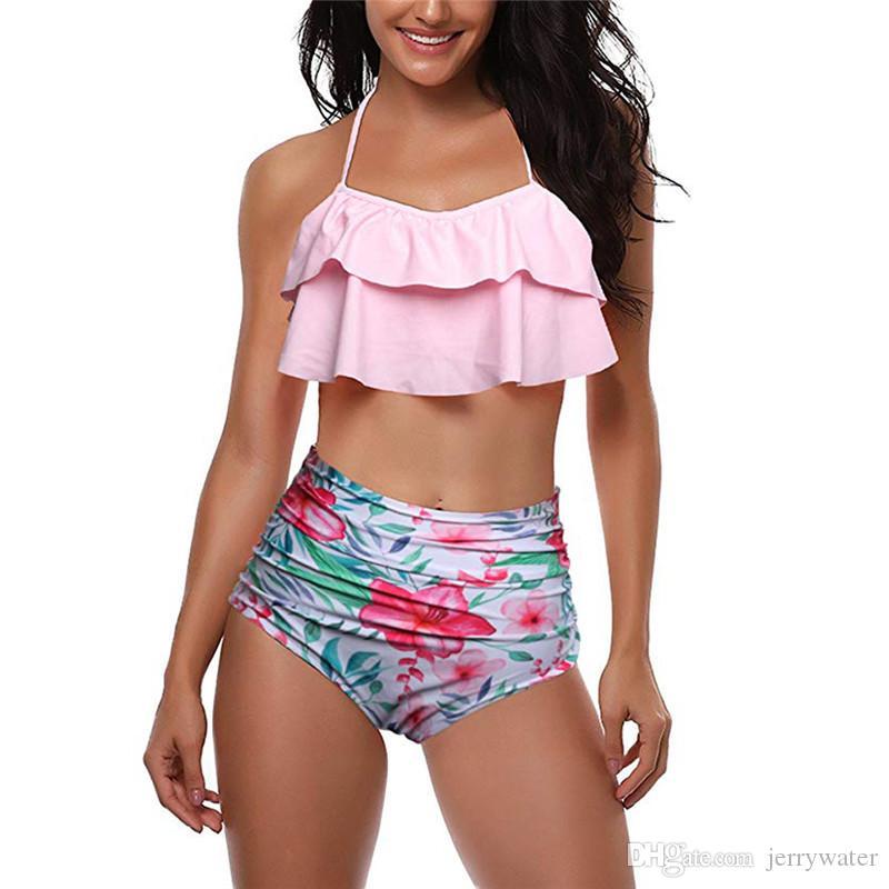 Traje de baño de cintura alta 2018 Sexy Bikinis Mujeres punto de la onda de la colmena Bandeau vintage Conjunto de bikini de la parte inferior a rayas Trajes de baño de volantes con volantes