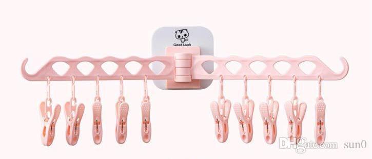 جديد بالجملة 2 قطعة الرئيسية الجدار الشماعات السفر المحمولة للطي شنقا الشماعات الشماعات رف الملابس البلاستيكية الإبداعية