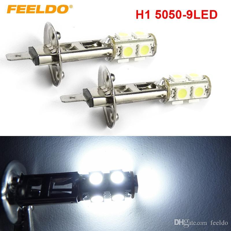FEELDO 2PCS Car H1 5050 SMD 9 LED bianco Lampadina Fendinebbia Fendinebbia # 1138