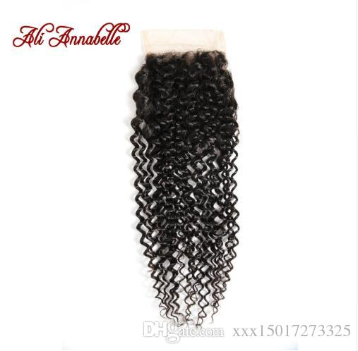 HAIR Brazilian Kinky Curly Hair Lace Closure 4*4 Brazilian Hairs 100% Remy Human Hairing Closure Free Part