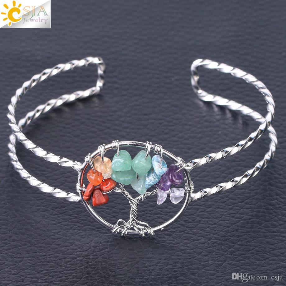 CSJA Women Cuff Bracelet Gemstone Chips Silver Bangle Natural Stone Beads Jewelry Handmade Wisdom Tree of Life Jewellery Free Shipping F503