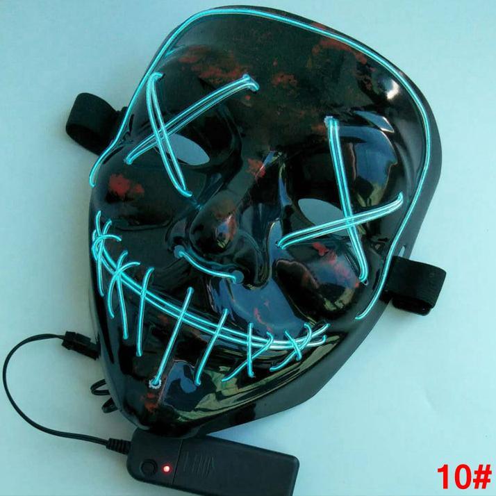 Maschera di Halloween El Wire Line Cold Light Fantasma Orrore mascherina del partito LED Cosplay travestimento di ballo della via di Halloween Rave giocattolo LJJA2812-4