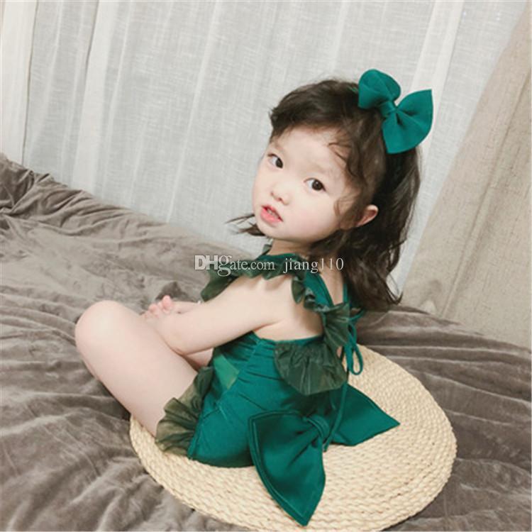 2018 Ins Yeni Sevimli Bebek Kızlar Mayo One Piece Çocuk Mayo Çocuk Bebek Mayo Dantel Mayo Plaj Yaz Stili Hairband Wear