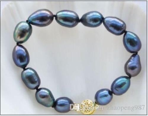 новый очаровательный браслет 10-12мм барокко таитянский черный синий зеленый жемчужный браслет 7.5-8 INCH