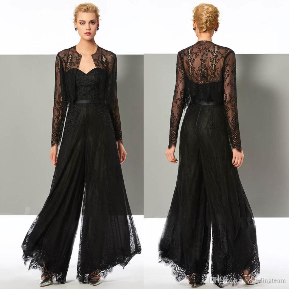 Mode schwarzer Spitze Overall Mutter der Braut Hose Anzüge herzförmiger Ausschnitt Hochzeitsgast Kleid mit Jacken plus Größe Mütter Bräutigam Kleider
